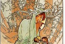 Alphonse Mucha / I am in love with his style of art.   I was so fortunate to find two of his posters in my attic of my home which was built in 1892. I have them framed and hanging in my foyer. They're absolutely beautiful.  / by Marty Smith