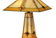 Craftsman Style Table Lamps / Craftsman and mission style lamps made with materials like wood, metal, stained glass, and mica.