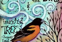 Vickie Hallmark Journals / collage & drawing, with a series of bird quotations