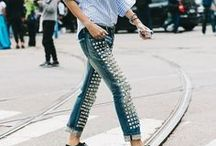 Denim / Denim, jeans, classic, embellished, colored, and patterned.  From skinny jean to bellbottom, to cropped, to flare.