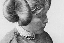 "Hopi Maiden / The ""squash blossom"" hairdo indicative of maidens eligibility for courtship.  https://en.wikipedia.org/wiki/Hopi"