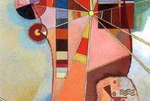 Wassily Kandinsky (1866-1944) / Russisk maler og teoretiker. En af de første abstrakte malere. Flyttede til München i 1896, og igen i 1920, hvor han underviste på Bauhaus Skolen indtil nazisterne lukkede skolen i 1933, hvorefter han flyttede til Frankrig. Døde i Neuilly-sur-Seine.