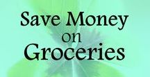Save Money on Groceries / Tips and ideas on saving money on groceries; save money on food and drinks, reduce spending; frugal living. Save money, spend less.