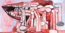 """Philip Guston / Philip Guston (born June 27, 1913 – June 7, 1980), was a painter and printmaker in the New York School, an art movement that included many abstract expressionists like Jackson Pollock and Willem de Kooning. In the late 1960s Guston helped to lead a transition from abstract expressionism to neo-expressionism in painting, abandoning so-called """"pure abstraction"""" in favor of more representational, cartoonish renderings of various personal situations, symbols and objects."""