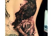 Old School Tattoo / Old school tatto, roses , forrest , black and white , animals