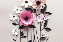 Flores de papel - IDEAS - / Flores de papel, diferentes tipos de flores y de papeles. Aplicaciones o objetos con flores de papel  #paperflowers #flores de papel