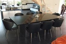 Open Plan Kitchen/ Dining Areas / Many Homes have Open Plan living with one large communal area containing the kitchen, a dining area and often the living area as well. We have barstools and chairs that match in style and colour, so that you can have a co-ordinated theme