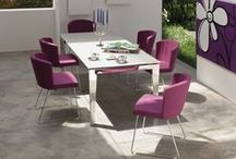 Doris Dining Chairs - Matching Doris Barstools / Doris Dining chairs are available in two Options Doris P Arm Chairs and Doris S Side Chairs. They can be upholstered in 26 Colours of Real Leather and 30 colours of Eco Leather, just like the Doris Barstools. So you can have matching barstools and chairs for an open plan kitchen/ Dining Area.