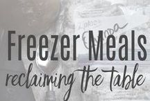FREEZER MEALS: Reclaiming the Table / If you want to take the stress out of mealtime, look no further than freezer meals.  Whether you make them with a cooking group, or once a month in your own kitchen, you will be singing sweet praises when you pull a ready-meal out of the upright.  The ultimate stress-buster!