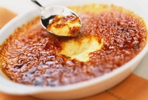 CrèmeBrûlée,Flan,Custard,Caramel,et al / Crème caramel, flan or caramel custard is a custard dessert with a layer of soft caramel on top, as opposed to crème brûlée, which is custard with a hard caramel top. The dish is eaten throughout the world. / by Ondina Arrondo ❤`✿.¸¸.ღ ღ.¸¸.✿`❤