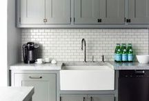 The Grey House: Kitchens / My grey decor board is too full. Find gray kitchens/ grey kitchens here.