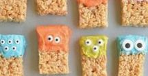 Kid Food -- Autumn Edition / Foods that kids will love (and actually eat!). Spend some QT in the kitchen with your littles this fall!  | Recipes | Halloween | Family | Food | DIY | Easy Recipes | Rice Krispies | Marshmallows | Monsters |