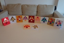 Greeting cards for Christmas / Greeting cards with Christmas trees made of hearts