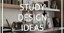 Study Design ideas / Inspiration and ideas for designing and decorating your study or home office - maximise your productivity and de-stress in an organised environment!