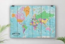 Push Pin World Travel Maps; No Ordinary Emporium / Personalised push pin world travel maps to pin the places you have been around the world. They are printed with the custom wording of your choice. The following are just some examples of the maps styles that we offer, and more can be found on our Etsy shop: http://noordinaryemporium.etsy.com. All products copyright of No Ordinary Emporium 2015 - 2017