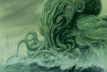 """H.P. Lovecraft & the Cthulhu Mythos / """"In his house at R'lyeh dead Cthulhu waits dreaming""""  """"That is not dead which can eternal lie, And with strange aeons even death may die"""""""