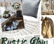 Decor - Rustic Glam / This is a trend here to stay... Mix up rustic materials with glam sophisticated accessories. Think worn old farmhouse table with chandeliers!