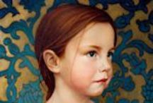 Paintings - portrait with patterned or busy background / by Sue Carter