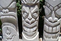 Ytong sculpturen und holz