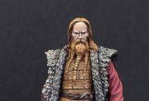 Vikingos / Secuencia de imágenes y figuras en miniatura de Vikingos. Se indica figura pintada por mi del personaje de la serie Vikingos.