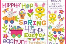 Easter & Spring clipart / Easter clipart, spring clipart, bunny clipart, chick clipart, Easter egg clipart - commercial use, personal use, instant download, for - digitizers, embroidery, applique, paper crafting, planner stickers, teachers, t-shirts.