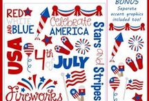 4th of July Clipart / 4th of July, patriotic clipart, flag clipart - commercial use, personal use, instant download, for - digitizers, embroidery, applique, paper crafting, planner stickers, teachers, t-shirts.