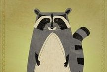 Woodland Critters / Art, illustration and craft featuring woodland critters - raccoons, badgers, moose, wolves, squirrels, deer, beavers, porcupines, hedgehogs and more. / by Shiny Happy World