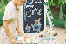 Wedding Theme: Garden Tea Party / Sunday high tea wedding. Pinkys up!
