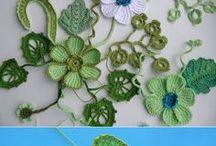 liście i kwiaty na szydelku