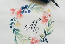 ART:  calligraphy and floral elements