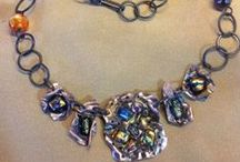 Dichroic Glass & Powder Coating Necklace / by Eureka Janet ~ Jewelry featuring Powder Coating