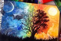 Watercolor pencils & Paint