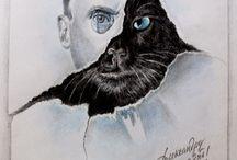 """Наместник дьявола в обличии кота / Кто не любит всеми известное произведение Булгакова """"Мастер и Маргарита"""", которое наполнено мистикой, завораживающей читателей? Конечно же, каждому , кто читал этот потрясающий роман, запомнился самый яркий персонаж- Кот Бегемот.Именно он , огромный кот , который не только ходит на своих двух и умеет говорить, но и пьёт водку, закусывая ее маринованным грибом, наполняет детище Булгакова философскими рассуждением, юмором, ведь он любимый шут Воланда."""
