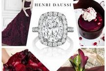 Marsala Wedding- Henri Daussi / Pantone's color of the year Marsala featured with Henri Daussi Signature Cushion Engagement Rings