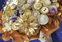 Gold Wedding / Our favorite gold decor, jewelry, accessories and ideas for weddings! What wedding can't use a little gold for sparkle?Blue Petyl creates AMAZING couture wedding bouquets in your colors, including brooch bouquets, jeweled flower bouquets, and button bouquets.  Visit us at www.bluepetyl.com. / by Blue Petyl
