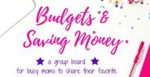 Budgets and Saving Money / Group board hosted by Grandi of My Aggrandized Life for busy moms to share their favorite budget and money saving tips.  Find pins to help you make a budget, keep a budget, or save money.  Tips for staying on budget, how to make a budget are all here! To join the group board, follow me first, then send a message to request to join the board.  All pins must be vertical and related to budgets and saving money for busy families.