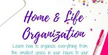 Home and Life Organization Tips / Learn how to organize everything from the smallest space in your house to your busiest time of the day!  Organize practically anything, implement a routine, and banish stress in no time! How to organize your life, tips and tricks on home organization, how to organize on a budget, organize your kitchen, bathroom organization, kids room organization, organize kid's room, Organize your house, get more organized - find it all here!