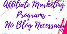 Affiliate Marketing - With or Without a Blog / Affiliate Marketing programs and products you can join and promote without a blog!  Perfect for busy moms who love Pinterest and can only spare a couple of hours a week!  Earn extra money using these affiliate marketing strategies without a blog.  These are all strategies, affiliate programs, and products I have personally tried myself.  Find courses to take if you want to start a blog, and courses to teach you how to make money with affiliate marketing.