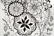 ZENTANGLE, DOODLE AND COLORING PAGES / by Fatima Ferreira