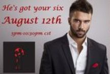 He's got your six! / Facebook party 8/12/14 5pm to 11pm with authors Jerrie Alexander, Aleah Barley, Carolyn Brown, Molly Cannon, Misty Dietz, Katie Graykowski, Jodi Linton, Annin Knox, Kimberly Quinton, Melissa Bourbon Ramirez, Kym Roberts, Naima Simone