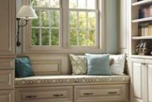 Reading Spots & Window Seats / Comfy reading nooks in the home created with strategically placed window seats.