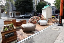 Parklet / Alternative use of parking spots - small parks in the city. Mostly during Parking Day.