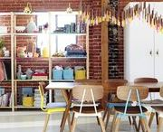 Craft Rooms / Craft spaces that inspire. I love these craft rooms for ideas on organizing my craft supplies.