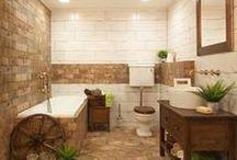 """Stylové řešení Country koupelna / Dřevo, dřevěný nábytek a pálená cihla jsou základem venkovského stylu. Přidejte špetku patiny a známky """"omšelosti"""", vsaďte na jemné tóny v pastelových barvách, kombinujte s bílou, krémovou či jemně šedou, slaďte obklad imitující pálené cihly s podlahou ze dřeva nebo dlažbou v barvě terakota, stylovým nábytkem a bronzovými doplňky! Za ní na vás dýchne příjemná atmosféra venkovského stylu."""