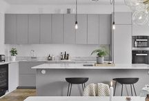 White Kitchen Cabinets and Grey Island Design Ideas / All about white kitchen cabinets design ideas