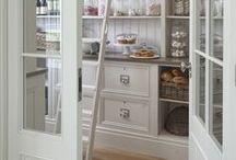 Pantries / pantry, pantries, organized pantries, white pantries, food storage, food organization, pantry baskets, glass door, pantry door, decorative pantry door, pantry ideas, pantry organization