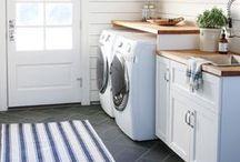 Laundry Rooms / laundry room, laundry room ideas, laundry room inspiration, white laundry rooms, laundry room cabinets, laundry room cabinetry, laundry room countertop, laundry room built-ins, laundry room accessories, laundry room accents, laundry room decor, hanging rack, ironing board, cabinets, laundry room remodel, laundry room renovation, laundry room reno