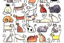koty rysunki