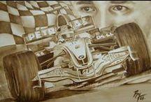 Autos con Arte / Mis pinturas en Asfalto y Oleo.