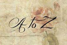 ಌ A ↷to↶ Z /  ಌ A B C D E F G H I J K L M N O P Q R S T U V W X Y Z ಌ ಌ  a b c d e f g h i j k l m n o p q r s t u v w x y z ಌ / by ಌBeckyಌ